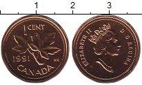 Изображение Монеты Канада 1 цент 1991 Бронза UNC