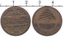 Изображение Монеты Ливан 25 пиастров 1961 Латунь XF