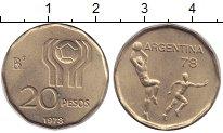 Изображение Монеты Аргентина 20 песо 1978 Латунь UNC Чемпионат мира по фу