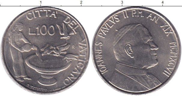 Картинка Монеты Ватикан 100 лир Медно-никель 1997