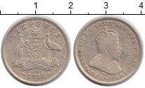 Изображение Монеты Австралия 6 пенсов 1910 Серебро VF Эдвард VII