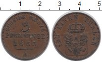 Изображение Монеты Пруссия 3 пфеннига 1863 Медь XF