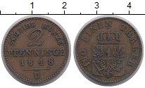 Изображение Монеты Германия Пруссия 2 пфеннига 1848 Медь XF