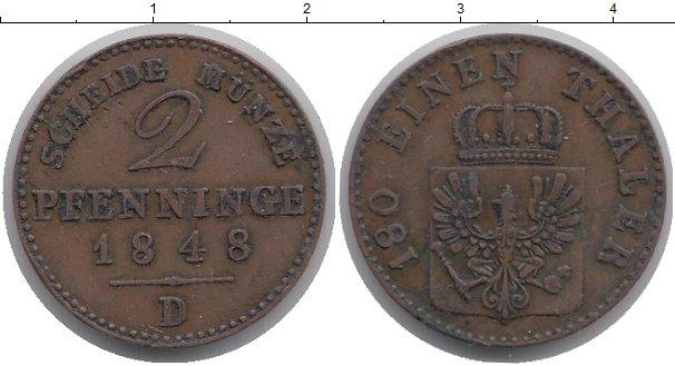 Картинка Монеты Пруссия 2 пфеннига Медь 1848