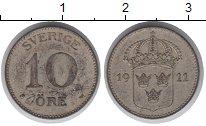 Изображение Монеты Швеция 10 эре 1911 Серебро XF Герб