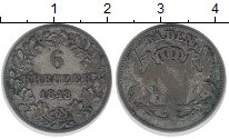 Изображение Монеты Баден 6 крейцеров 1848 Серебро VF Герб