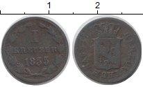 Изображение Монеты Нассау 1 крейцер 1833 Медь VF Герб