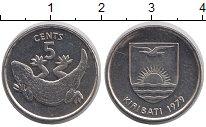 Изображение Монеты Кирибати 5 центов 1979 Медно-никель UNC Геккон