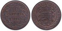 Изображение Монеты Люксембург 10 сантимов 1870 Бронза XF
