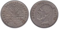 Изображение Монеты Гаити 5 сентим 1905 Медно-никель XF