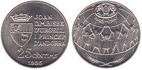 Изображение Монеты Андорра 25 сентим 1995 Медно-никель UNC 50  лет  ФАО