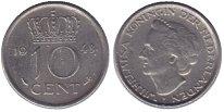 Изображение Монеты Нидерланды 10 центов 1948 Медно-никель XF