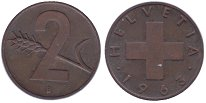 Изображение Монеты Швейцария 2 раппа 1963 Бронза XF