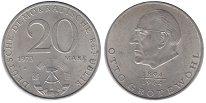 Изображение Монеты ГДР 20 марок 1973 Медно-никель UNC- Отто  Гротеволь