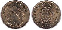 Изображение Монеты Сейшелы 10 центов 1977 Латунь UNC