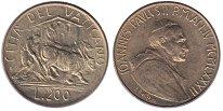 Изображение Монеты Ватикан 200 лир 1982 Латунь UNC