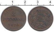 Изображение Монеты Бавария 2 пфеннига 1870 Медь XF