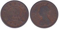 Изображение Монеты Индия 1/2 пайса 1894 Медь VF