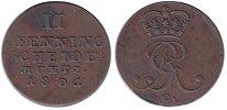 Изображение Монеты Германия Брауншвайг-Люнебург-Каленберг-Ганновер 2 пфеннига 1801 Медь XF