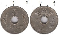 Монета Немецкая Африка 5 хеллеров Медно-никель 1913 XF