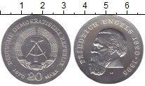 Изображение Монеты ГДР 20 марок 1970 Серебро UNC Фридрих  Энгельс