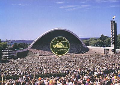 Изображение Подарочные монеты Эстония 1 крона 1999 Латунь UNC Песенный фестиваль