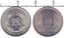 Изображение Монеты ГДР 1 пфенниг 1981 Алюминий XF+