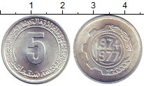 Изображение Монеты Алжир 5 сантим 1974 Алюминий UNC-