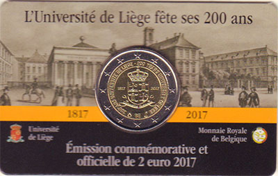 Изображение Мелочь Бельгия 2 евро 2017 Биметалл UNC