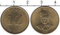 Изображение Монеты Заир 1 заир 1987 Латунь UNC