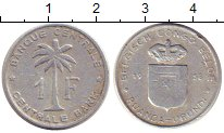 Изображение Монеты Бельгийское Конго 1 франк 1958 Алюминий VF пальма