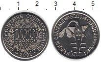 Изображение Монеты Западная Африка 100 франков 2002 Медно-никель XF+ Золотая  гиря  народ