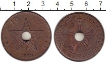 Изображение Монеты Бельгийское Конго 10 сантимов 1888  XF Звезда