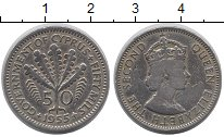 Изображение Монеты Кипр 50 милс 1955 Медно-никель XF Елизавета II.