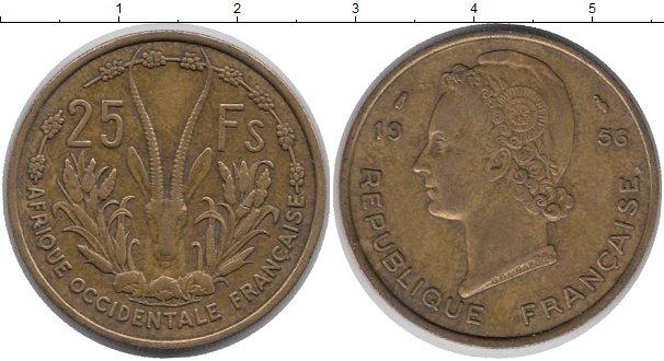 Картинка Монеты Французская Западная Африка 25 франков Латунь 1956