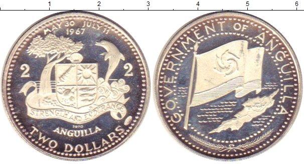 Картинка Монеты Ангилия 2 доллара Серебро 1970
