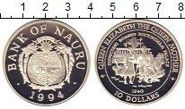 Изображение Монеты Науру 10 долларов 1994 Серебро Proof Королева-мать
