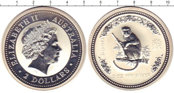 Картинка Монеты Австралия 2 доллара Серебро 2004