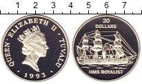 Изображение Монеты Тувалу 20 долларов 1993 Серебро Proof `Елизавета II.  Коро