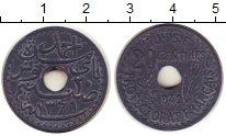 Изображение Монеты Тунис 20 сантим 1942 Цинк XF Французский протекто
