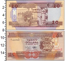 Изображение Боны Соломоновы острова 20 долларов 0   Герб.  Народный  тан