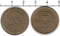 Изображение Монеты Саар 20 франков 1954 Латунь XF
