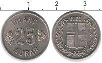 Изображение Монеты Исландия 25 аурар 1963 Медно-никель UNC-