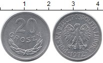 Изображение Монеты Польша 20 грош 1972 Алюминий UNC-