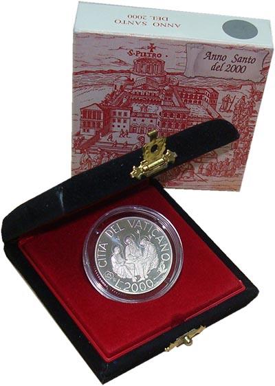 Изображение Подарочные наборы Ватикан Святой год 2000 Серебро Proof Монета номиналом 200