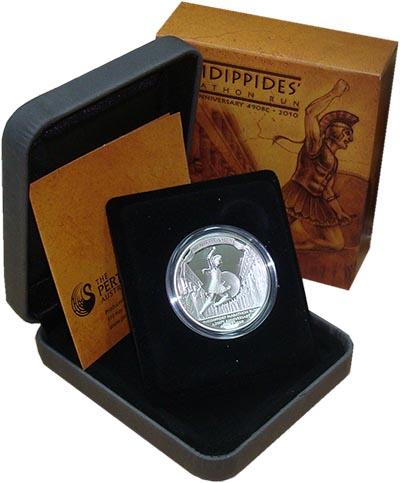 Изображение Подарочные монеты Тувалу Фидиппид 2010 Серебро Proof Монета номиналом 1 д