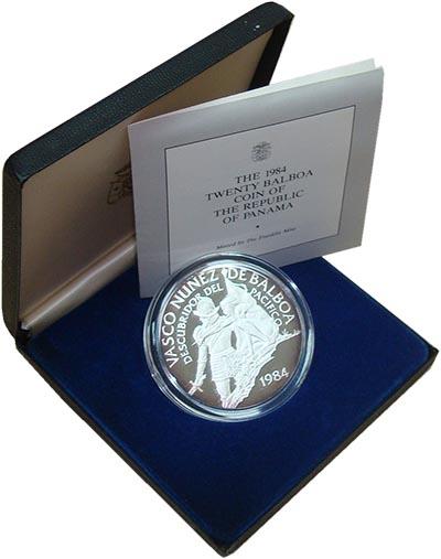 Изображение Подарочные монеты Панама Васко Нуньес де Бальбоа 1984 Серебро Proof- Монета номиналом 20