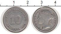 Изображение Монеты Стрейтс-Сеттльмент 10 центов 1898 Серебро VF