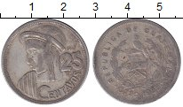 Изображение Монеты Гватемала 25 сентаво 1955 Серебро XF-