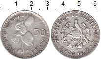 Изображение Монеты Гватемала 50 сентаво 1962 Серебро XF
